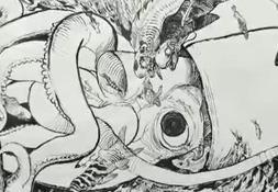 Katsuya Terada Uses Squid Ink to Paint Huge Squid