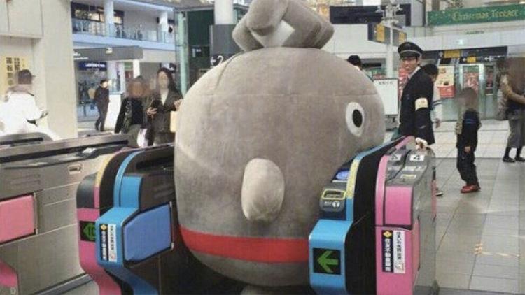Japanese mascot characters get stuck