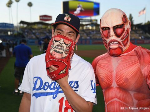 Attack on Titan's Colossal Titan Throws Out First Pitch for L.A. Dodgers