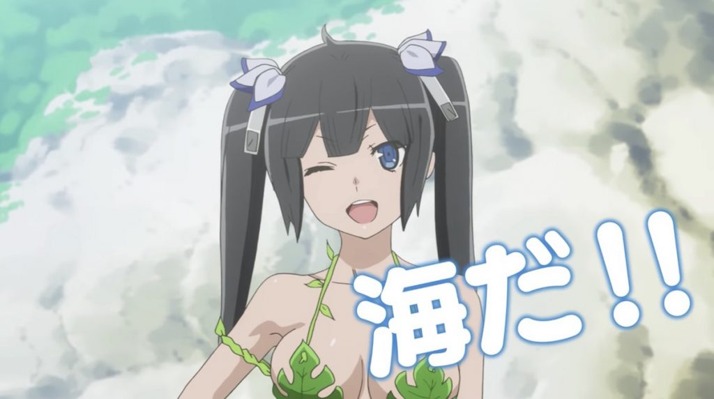 Hestia Sports a Swimsuit in Is It Wrong to Try to Pick Up Girls in a Dungeon? OVA Promo