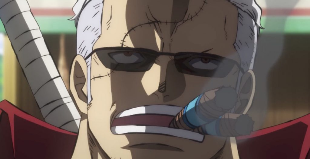 Exclusive One Piece: Stampede Clip Checks in with Smoker and Tashigi
